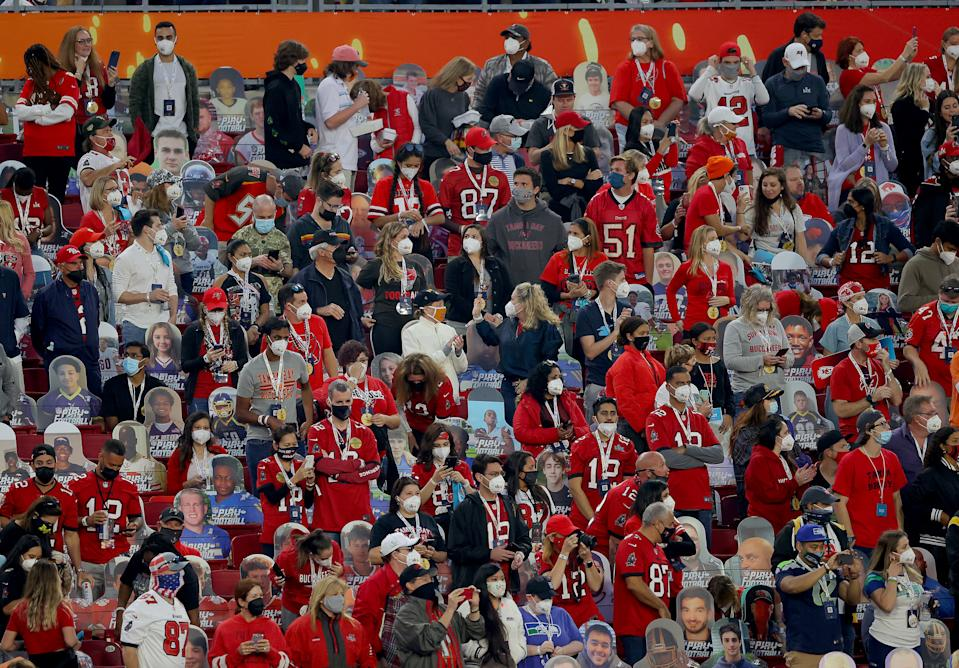 TAMPA, FLORIDA - FEBRUARY 07: Fans are seen prior to a game between the Tampa Bay Buccaneers and the Kansas City Chiefs in Super Bowl LV at Raymond James Stadium on February 07, 2021 in Tampa, Florida. (Photo by Kevin C. Cox/Getty Images)