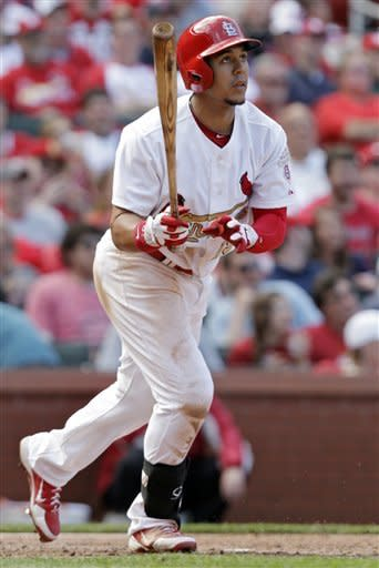 St. Louis Cardinals' Jon Jay (19) watches his solo home run in the seventh inning of a baseball game against the Chicago Cubs, Saturday, April 14, 2012 in St. Louis. (AP Photo/Tom Gannam)