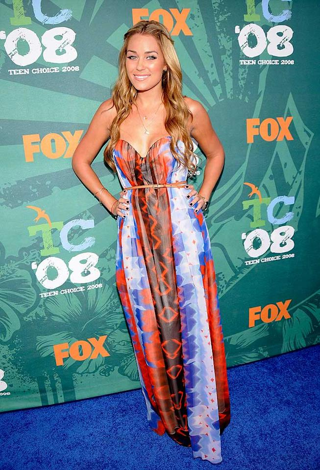 """""""Hills"""" hottie Lauren Conrad wowed photographers as she walked down the red carpet in a custom-made orange and blue tie-dye silk georgette gown. K Mazur/<a href=""""http://www.wireimage.com"""" target=""""new"""">WireImage.com</a> - August 3, 2008"""