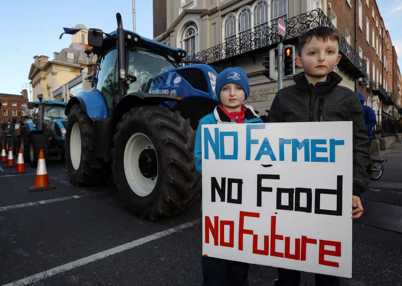 Irish farmers fire election warning shot with Dublin tractor protest