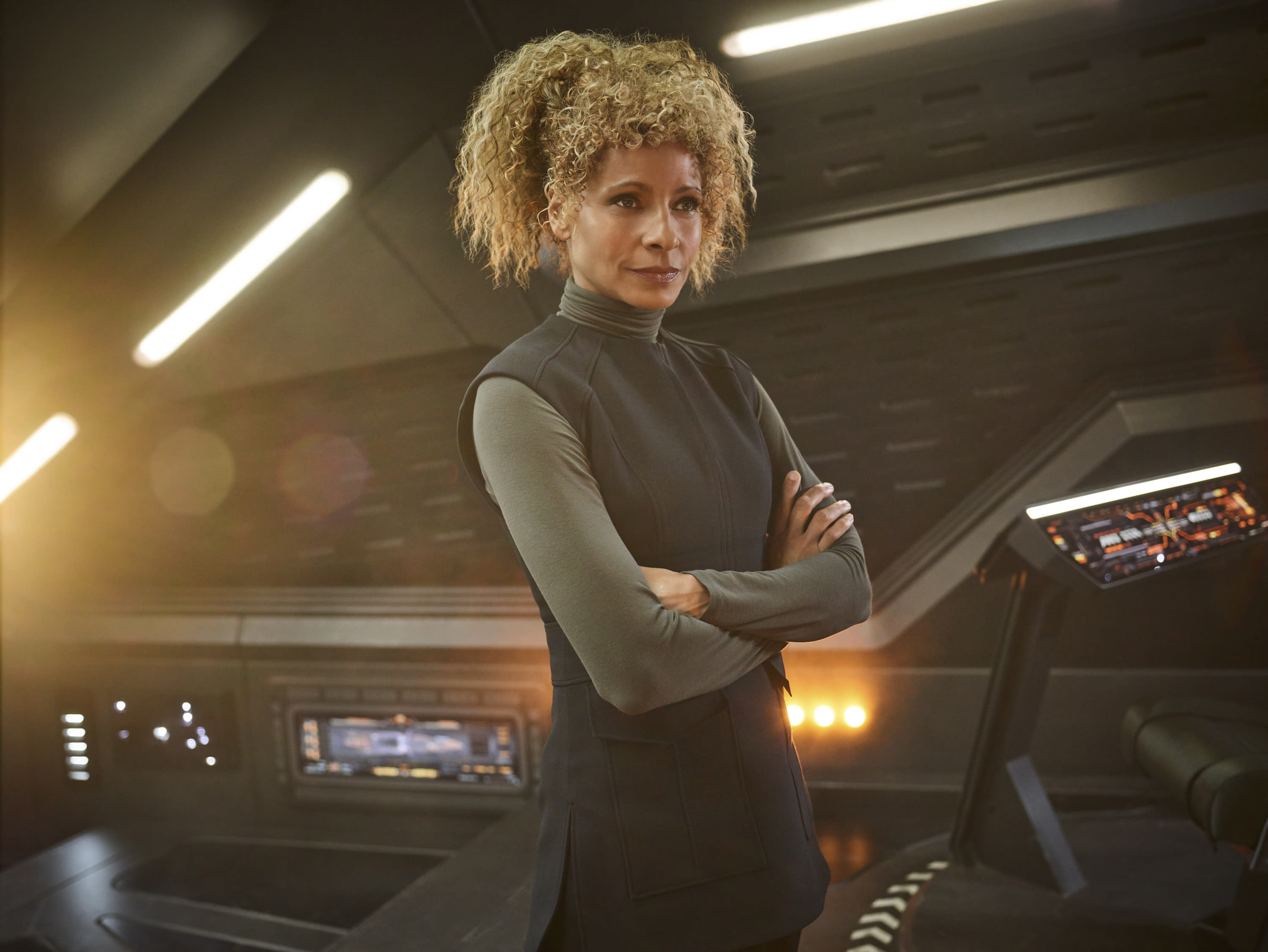 Pictured: Michelle Hurd as Raffi of the CBS All Access series STAR TREK: PICARD. (Photo Cr: James Dimmock/CBS ©2019 CBS Interactive, Inc. All Rights Reserved.)