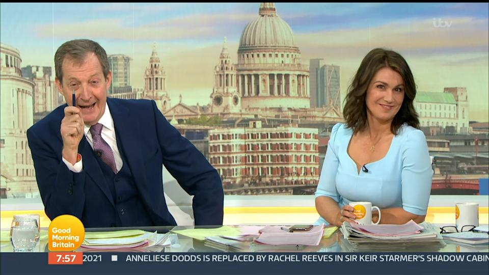 Mandatory Credit: Photo by ITV/Shutterstock (11896756i) Alastair Campbell and Susanna Reid 'Good Morning Britain' TV Show, London, UK - 10 May 2021
