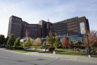 """This photo shows Hurley Medical Center in Flint, Mich., Wednesday, Oct. 28, 2020. U.S. hospitals are scrambling to hire more nurses as the coronavirus pandemic surges, leading to stiff competition and increased costs. Adding to the strain, experienced nurses are """"burned out with this whole (pandemic)"""" and some are quitting, said Kevin Fitzpatrick, an emergency room nurse at the center, where several left just in the past month to work in hospice or home care or at outpatient clinics. (AP Photo/Paul Sancya)"""