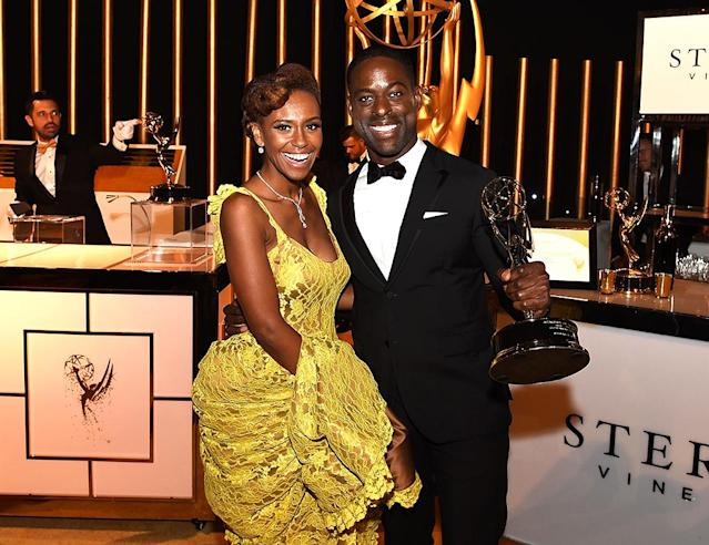 <p>Sterling K. Brown also celebrated his win with his wife, Ryan Michelle Bathe. (Photo: Kevin Winter/Getty Images) </p>