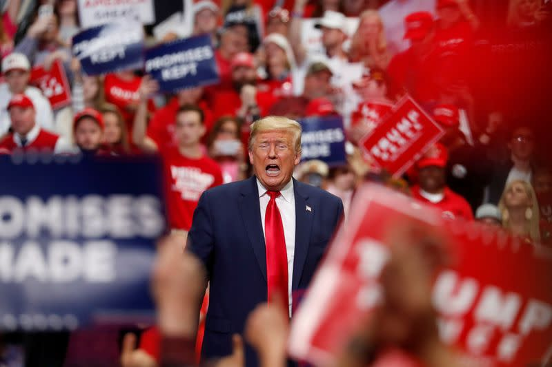 FILE PHOTO: U.S. President Donald Trump speaks at a campaign rally in Charlotte