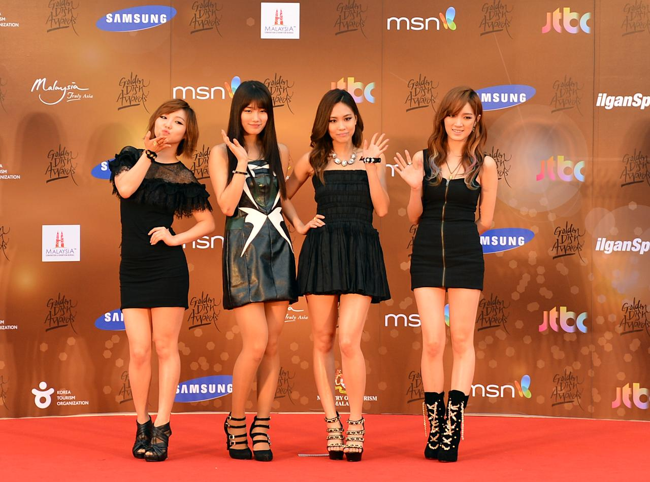 <p>Miss A pose on the red carpet at the 27th Golden Disk Awards in Malaysia on January 16, 2013. (Photo: MOHD RASFAN/AFP/Getty Images) </p>