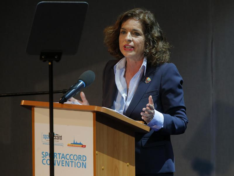 Mayor of Madrid Ana Botella  speaks during the presentation of Madrid as a candidate city for the 2020 Olympics at the SportAccord International Convention in St.Petersburg, Russia, Thursday, May 30, 2013. (AP Photo/Dmitry Lovetsky)