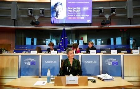 European Commissioner-designate for Europe Fit for Digital Age Margrethe Vestager of Denmark attends her hearing before the European Parliament in Brussels