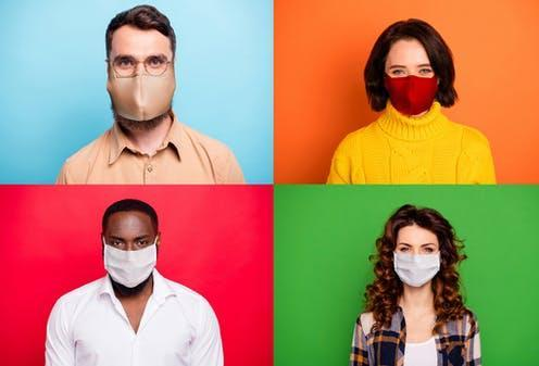 """<span class=""""caption"""">Check your mask for fit, filtration and breathability. </span> <span class=""""attribution""""><a class=""""link rapid-noclick-resp"""" href=""""https://www.shutterstock.com/image-photo/stop-covid2019-concept-photo-montage-multiple-1748936021"""" rel=""""nofollow noopener"""" target=""""_blank"""" data-ylk=""""slk:Roman Samborskyi/Shutterstock"""">Roman Samborskyi/Shutterstock</a></span>"""
