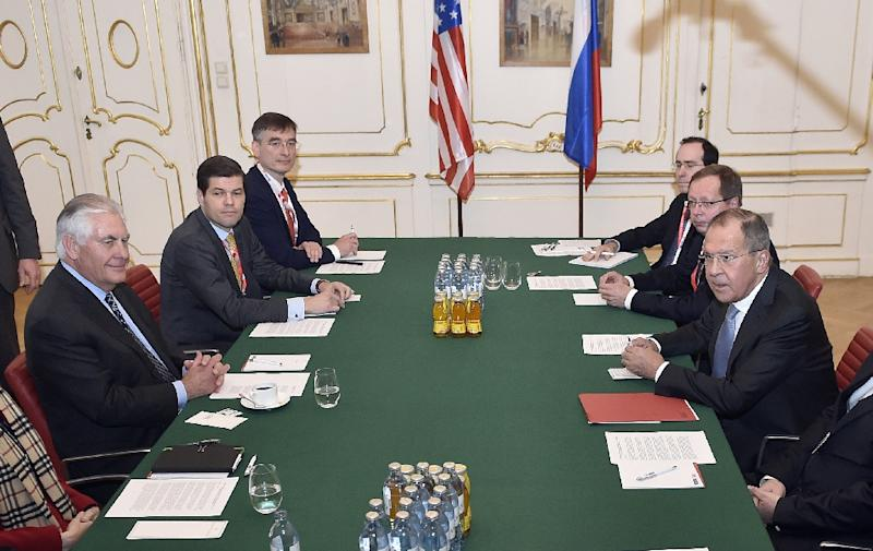 US Secretary of State Rex Tillerson and Russian foreign minister Sergei Lavrov met privately to discuss their differences over Ukraine, but their public comments were explosive (AFP Photo/HANS PUNZ)