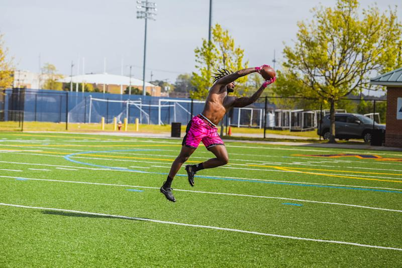 Levonta Taylor works out during his self-created pro day. (Courtesy of Jocorey Robins/IP multimedia)