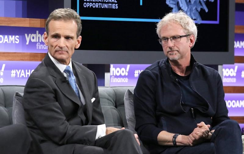 NEW YORK, NEW YORK - OCTOBER 10: Vice chairman of Prudential Financial Robert Falzon (L) and Paul Daugherty attend the Yahoo Finance All Markets Summit at Union West Events on October 10, 2019 in New York City. (Photo by Jim Spellman/Getty Images)