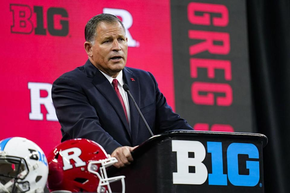 Rutgers coach Greg Schiano talks to reporters at Big Ten Conference media days July 23.