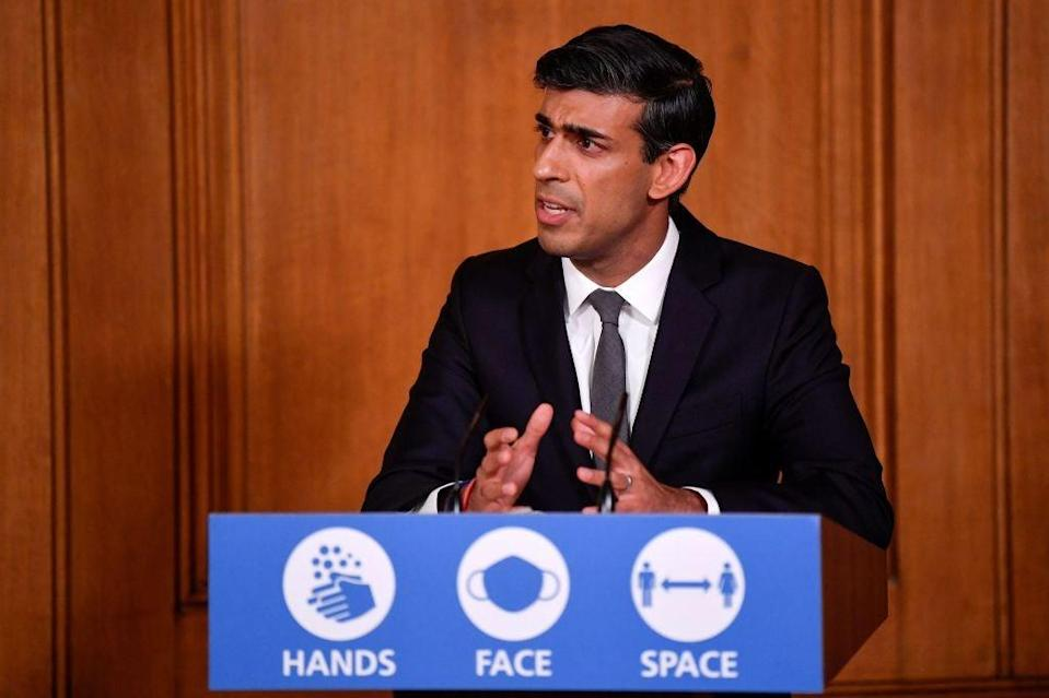 Rishi Sunak speaks during a virtual press conference inside No. 10 earlier this month (POOL/AFP via Getty Images)
