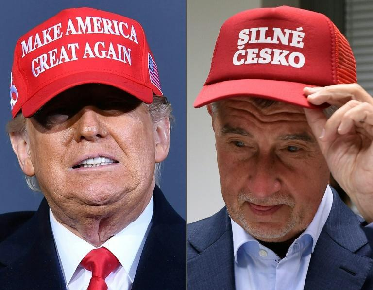 """US President Donald Trump seen with his trade mark MAGA cap at a rally in Michigan last October and Czech Prime Minister Andrej Babis appears with a similar cap with the lettering """"Strong Czechia"""" after the European elections in Prague in May 2019."""
