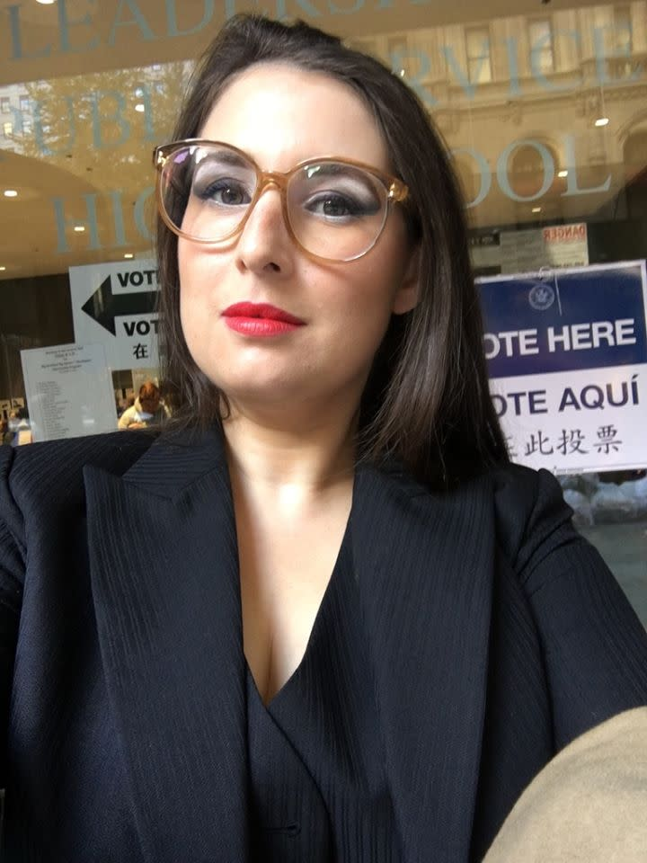 "<p>Julie Fredrickson of New York, New York wore red, white and blue make up and a three-piece suit to vote. ""It was pinstriped, masculine and loose in cut, comfortable as pajamas and I wore it proudly as a symbolic gesture of support for Hillary Clinton. We are a nation of immigrants. We are a nation that values diversity and freedom. Trump supports no one's liberty but his own. I'm saddened to have cast my first ballot for a woman presidential candidate in this horrific, toxic and disappointing political environment. This should be a historic and exciting moment and by wearing a pant suit I'm doing my small part to recognize and remember that it took us till 2016 to get around to even considering the possibility that a woman is not only fit but demonstrably qualified to lead this great nation."" </p>"