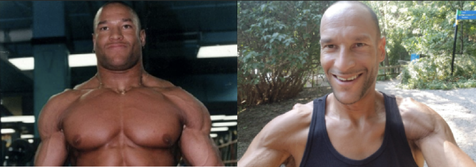 John DePass as a bodybuilder in 1996, compared with him in 2018. (Photo: Courtesy of John DePass)