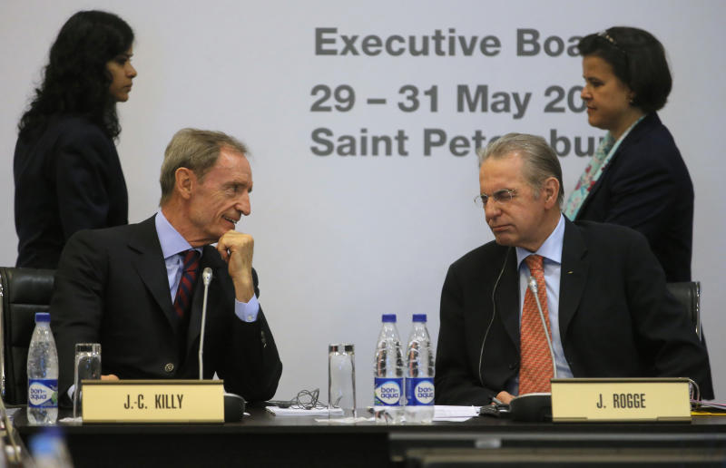 President of the International Olympic Committee, or IOC Jacques Rogge, second right, and Jean-Claude Killy, chairman of the IOC Coordination Commission for Sochi 2014 attend an IOC executive board meeting at the SportAccord International Convention in St.Petersburg, Russia, Thursday, May 30, 2013. (AP Photo/Dmitry Lovetsky)