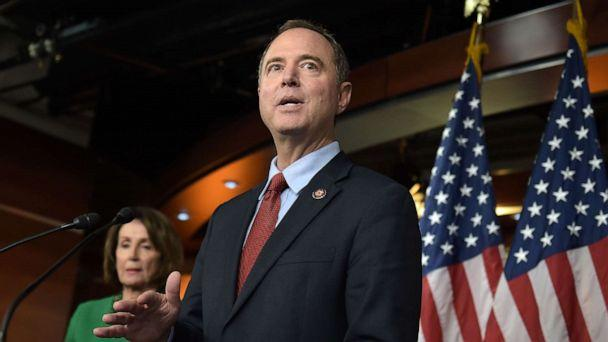 PHOTO: Chairman of the US House Permanent Select Committee on Intelligence, Adam Schiff (R), and Speaker of the House Nancy Pelosi hold a press conference on Capitol Hill in Washington, DC, on October 15, 2019. (Eric Baradat/AFP via Getty Images)