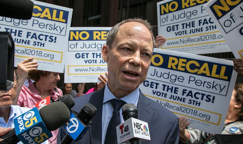 Judge Aaron Persky talks to the media at the No Recall campaign rally in front of the Santa Clara County Government Center in San Jose, California, on Wednesday, May 30, 2018. (Photo: MediaNews Group/The Mercury News via Getty Images via Getty Images)