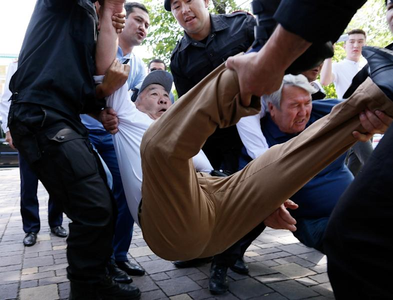 Protests are rare in Kazakhstan and activists often risk arrest (AFP Photo/Ruslan PRYANIKOV)