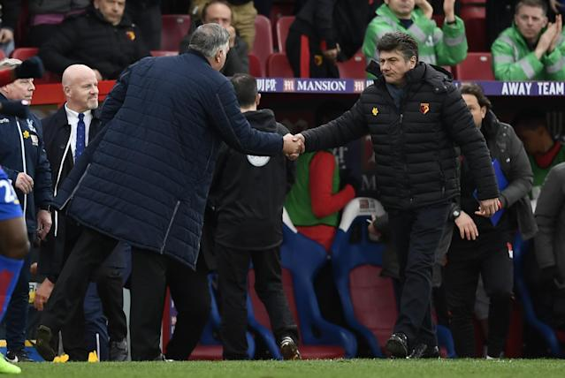 <p>Crystal Palace manager Sam Allardyce shakes hands with Watford manager Walter Mazzarri after the game </p>