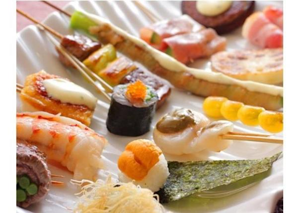 "A great variety of skewers in the ""omakase course"""