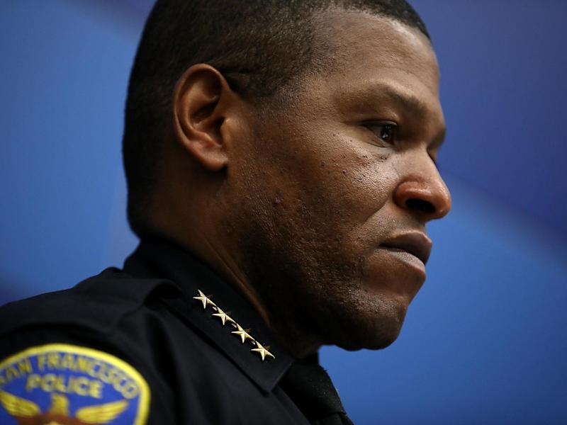 San Francisco police chief William Scott looks on during a press conference at San Francisco police headquarters: (2020 Getty Images)