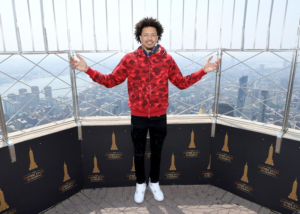 Cade Cunningham is standing on top of the basketball world at the 2021 NBA draft in New York City. (Dia Dipasupil/Getty Images for Empire State Realty Trust)