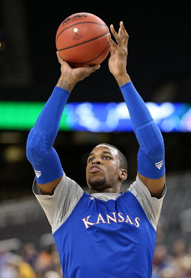 NEW ORLEANS, LA - MARCH 30: Thomas Robinson #0 of the Kansas Jayhawks shoots the ball during practice prior to the 2012 Final Four of the NCAA Division I Men's Basketball Tournament at the Mercedes-Benz Superdome on March 30, 2012 in New Orleans, Louisiana. (Photo by Jeff Gross/Getty Images)