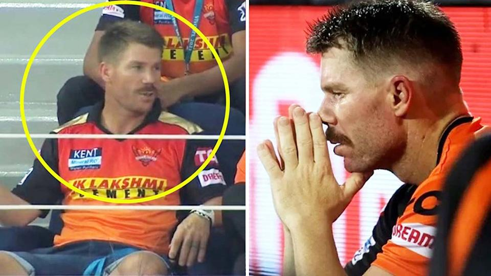 David Warner (pictured left) watching the IPL from the stands and (pictured right) frustrated after his dismissal.