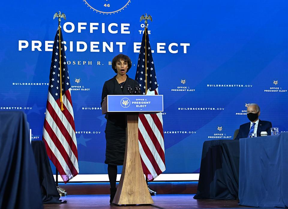 Chair of Council of Economic Advisers nominee Cecilia Rouse speaks after US President-elect Joe Biden (R) announced his economic team at The Queen Theatre in Wilmington, Delaware, on December 1, 2020. (Photo by Chandan KHANNA / AFP) (Photo by CHANDAN KHANNA/AFP via Getty Images)