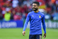 Italy's Lorenzo Insigne warms up ahead the Euro 2020 soccer championship semifinal match between Italy and Spain at Wembley stadium in London, England, Tuesday, July 6, 2021. (Justin Tallis/Pool Photo via AP)