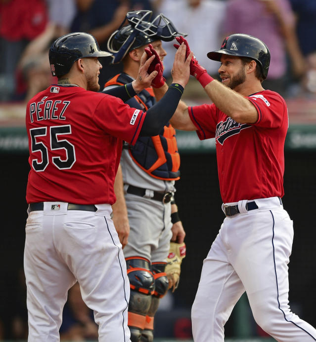 Cleveland Indians' Mike Freeman, right, is congratulated by Roberto Perez after hitting a two-run home run off Detroit Tigers starting pitcher Daniel Norris in the second inning of a baseball game Monday, July 15, 2019, in Cleveland. (AP Photo/David Dermer)