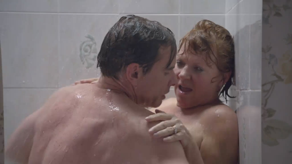 "<b>Hannah's parents hit the showers (""The Return"") </b><br><br>This may have been the most scarring moment all season long: We were forced to watch Hannah's parents -- Peter Scolari from ""Bosom Buddies"" and Becky Ann Baker from ""Freaks and Geeks"" -- engage in a little middle-aged action in the shower. Then when the dad fell out of the shower and suffered a concussion, we were treated to a full-on shot of Peter Scolari's junk. We can't unsee that, you know."