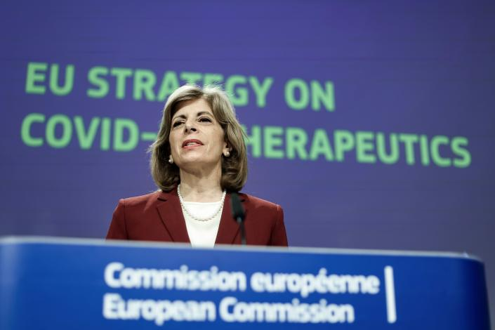 European Union Health Commissioner Stella Kyriakides speaks during a media conference on an EU strategy on COVID-19 therapeutics at EU headquarters in Brussels, Thursday, May 6, 2021. (Kenzo Tribouillard, Pool via AP)