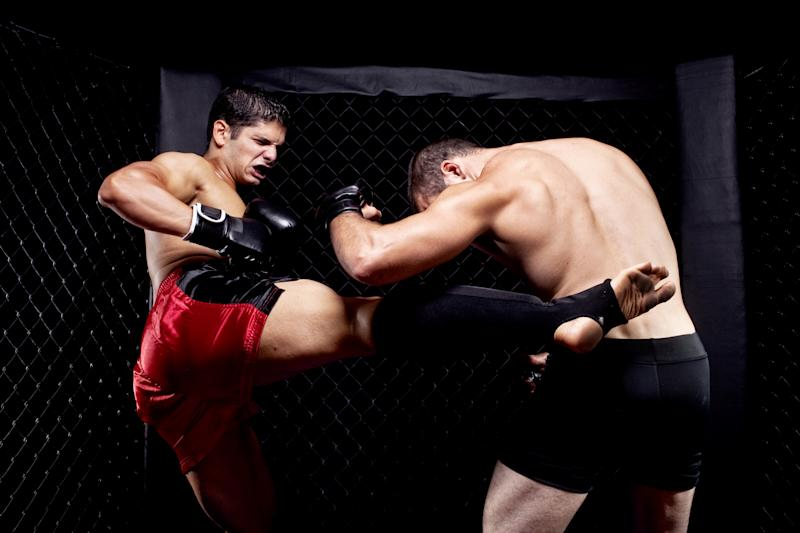 Two fighters in a mixed martial arts match.