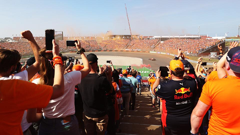 Max Verstappen, pictured here sending the 70,000 fans at the Dutch Grand Prix into raptures.