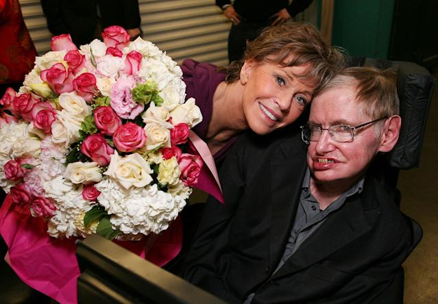 "<p>Cast member actress Jane Fonda (who portrays a Musicologist with ALS) (L) and Physicist Stephen Hawking (R) pose backstage after a preview performance of ""33 Variations"" at Center Theatre Group's Ahmanson Theatre on February 1, 2011 in Los Angeles, Calif. (Photo: Ryan Miller/Getty Images) </p>"