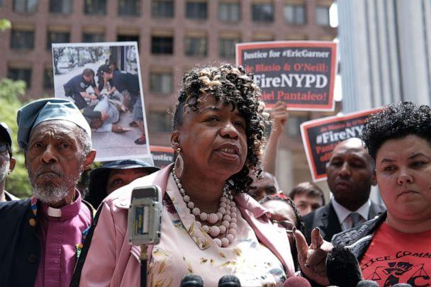 PHOTO: Gwen Carr, mother of Eric Garner, joins others during a news conference outside of Police Headquarters in Manhattan to protest during the police disciplinary hearing for Officer Daniel Pantaleo on May 21, 2019, in New York. (Spencer Platt/Getty Images, FILE)