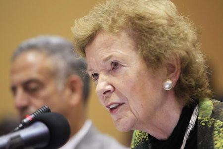 U.N. Special Envoy Mary Robinson speaks during the extraordinary summit of the International Conference on the Great Lakes Region (ICGLR) head of states emergency summit in Uganda's capital Kampala