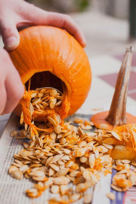 """<p>Don't toss those Jack-o'-lantern innards! Toast the <a href=""""https://www.womansday.com/food-recipes/food-drinks/recipes/a11926/cinnamon-sugar-toasted-pumpkin-seeds-recipe-123693/"""" rel=""""nofollow noopener"""" target=""""_blank"""" data-ylk=""""slk:pumpkin seeds with cinnamon and sugar"""" class=""""link rapid-noclick-resp"""">pumpkin seeds with cinnamon and sugar</a> for a yummy treat, and puree the stringy parts to use in <a href=""""http://www.countryliving.com/food-drinks/recipes/a4117/harvest-pumpkin-soup-recipe-clv1112/"""" rel=""""nofollow noopener"""" target=""""_blank"""" data-ylk=""""slk:savory soups"""" class=""""link rapid-noclick-resp"""">savory soups</a> and <a href=""""https://www.womansday.com/food-recipes/food-drinks/recipes/a37904/pumpkin-cheese-bread-recipe-clx1111/"""" rel=""""nofollow noopener"""" target=""""_blank"""" data-ylk=""""slk:breads"""" class=""""link rapid-noclick-resp"""">breads</a>. </p>"""