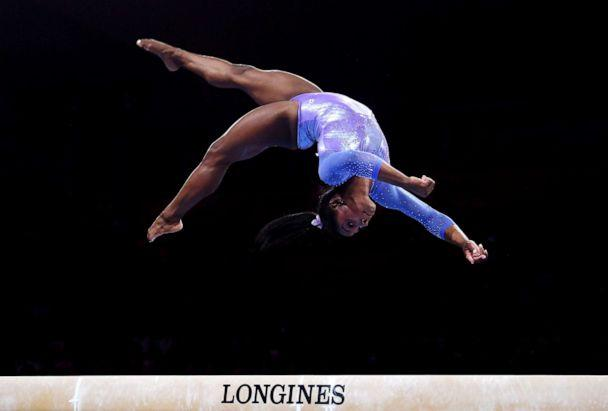 PHOTO: Simone Biles competes on Balance Beam during the FIG Artistic Gymnastics World Championships at Hanns Martin Schleyer Hall on Oct. 13, 2019, in Stuttgart, Germany. (Laurence Griffiths/Getty Images, FILE)