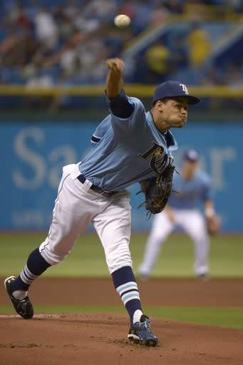 Tampa Bay Rays starting pitcher Chris Archer throws to home plate during the first inning of a baseball game against the Toronto Blue Jays in St. Petersburg, Fla., Sunday, Aug. 18, 2013. (AP Photo/Phelan M. Ebenhack)