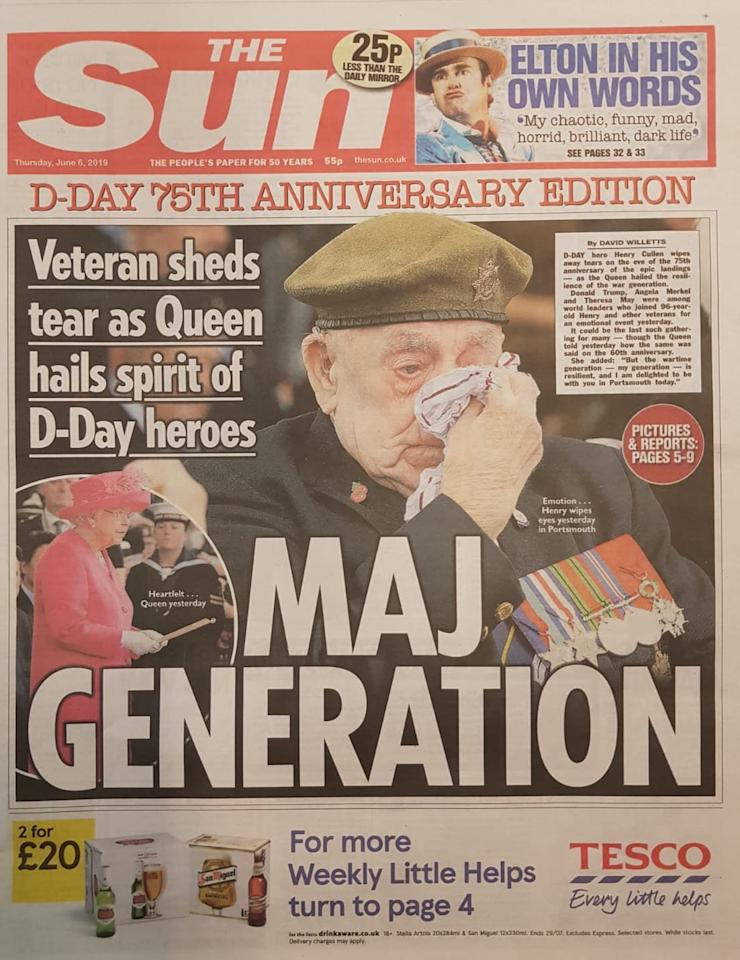 The Sun showed a picture of a tearful veteran in Southsea