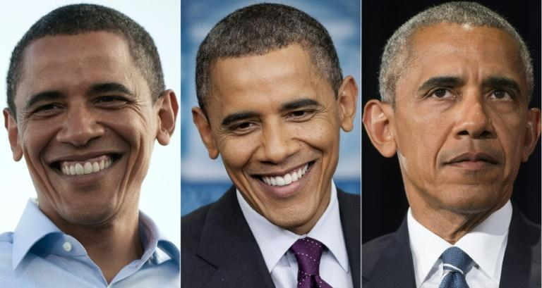 This combination of pictures shows former US president Barack Obama during his first campaign 2008 (L), in the White House in 2012 (C) and during a press conference in 2016 (R)