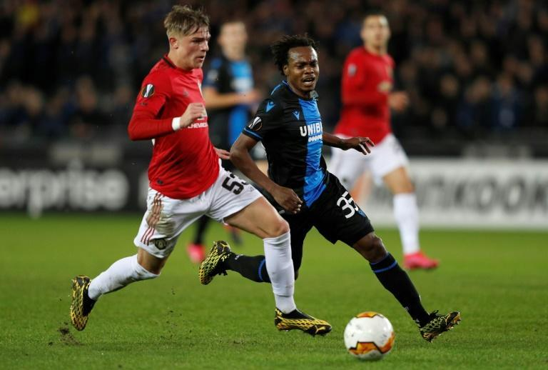 South Africa star Percy Tau (C) playing for Bruges against Manchester United this year in the Champions League