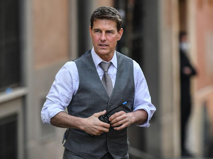 Tom Cruise during the filming of Mission: Impossible 7 on 6 October 2020 in Rome (ALBERTO PIZZOLI/AFP via Getty Images)