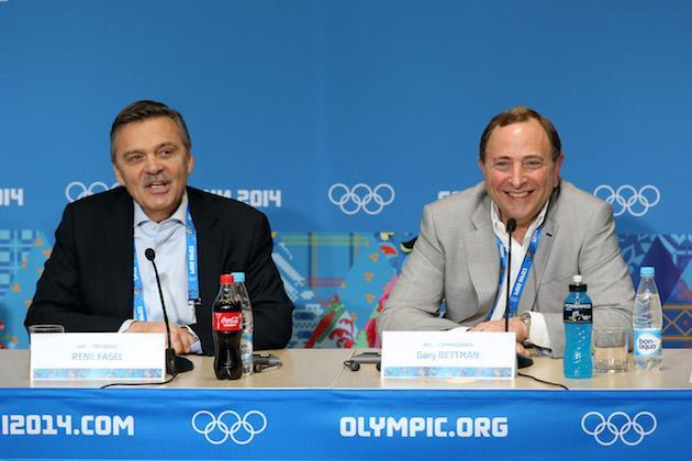 SOCHI, RUSSIA - FEBRUARY 18: (L-R) International Ice Hockey Federation President Rene Fasel and National Hockey League Commissioner Gary Bettman speak during a press conference on day eleven of the Sochi 2014 Winter Olympics on February 18, 2014 in Sochi, Russia. (Photo by Bruce Bennett/Getty Images)