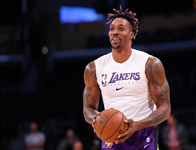"<a class=""link rapid-noclick-resp"" href=""/nba/players/3818/"" data-ylk=""slk:Dwight Howard"">Dwight Howard</a> has found new life as the <a class=""link rapid-noclick-resp"" href=""/nba/teams/la-lakers/"" data-ylk=""slk:Lakers"">Lakers</a>' backup center. (Jayne Kamin-Oncea-USA TODAY Sports)"